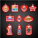 Promotional 24 LIGHT UP PENDANT NECKLACES - Red