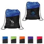 Promotional 2-Tone Zippered Drawstring Backpack - 13 x 16.75