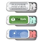Promotional 2 x 1 Small Silver Rectangular Slider Tin with Mints