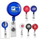 Promotional 30 Cord Round Retractable Badge Reel with Rotating Alligator Clip Backing and Badge Holder