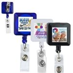 Promotional 30 Cord Square Retractable Badge Reel with Metal Rotating Alligator Clip Backing and Badge Holder