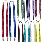 Promotional 3/4 Width Dual Attachment Silkscreen Polyester Lanyard