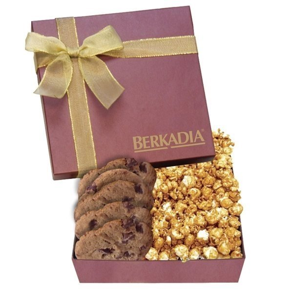 Promotional The Chairman Gift Box - Chocolate Drizzled Caramel Popcorn Chocolate Chip Cookies