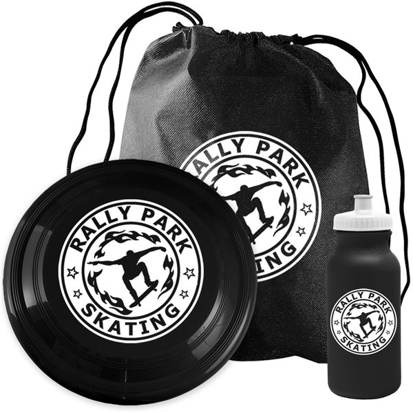 3pc Custom Picnic Fun Kit With Flyer, Sports Bottle & Drawstring Bag