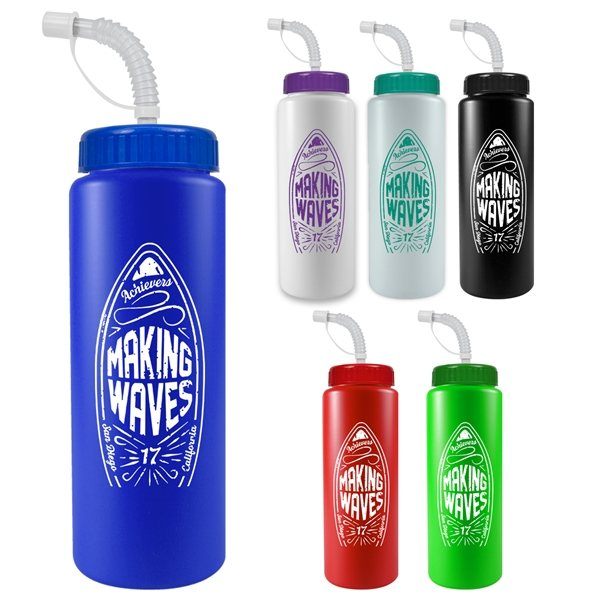 Promotional 32 oz The Sports Quart Water Bottle With Straw Lid