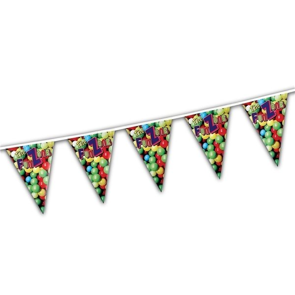 Promotional Custom Pennants, Triangles, 60ft -24 Pennants per string, 1 sided print.