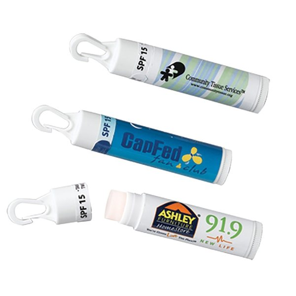 Promotional Lip Balm with Clip SPF15 (USA MADE)