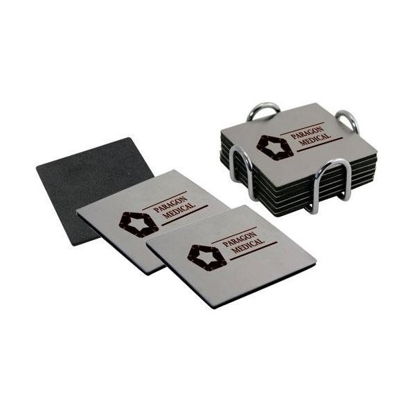 Promotional Stainless Steel 6- Piece Coaster Set with Chrome Plated Holder