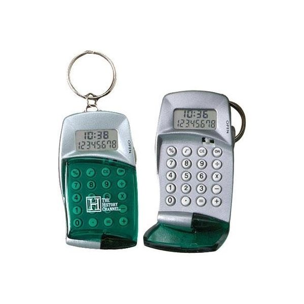 Promotional High - Tech Calculator with Clock Keyring