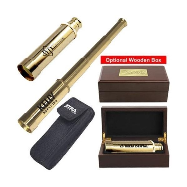 Promotional Solid Brass Telescope with Nylon Case