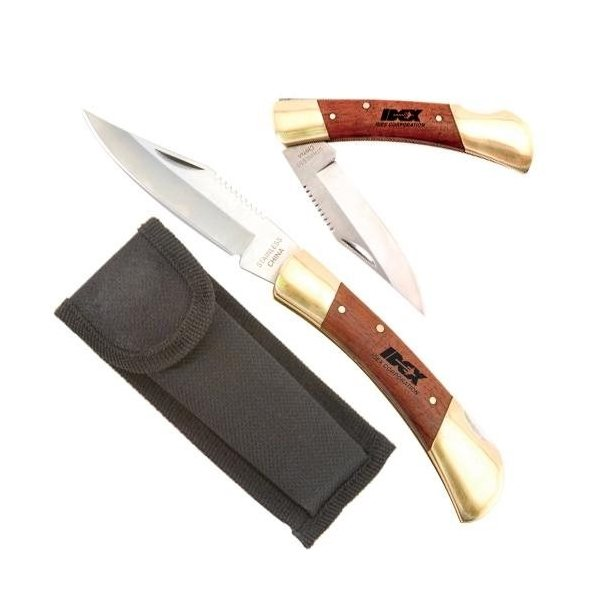 Promotional Large Rosewood Brass Knife with Locking Blade