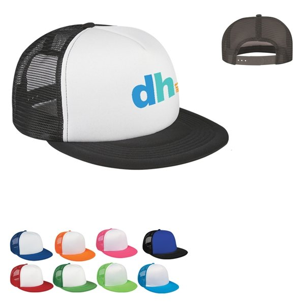 ac2a902c8daf27 Promotional Custom Flat Bill Trucker Cap With Multi Color Choices
