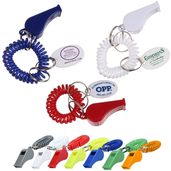 Promotional Whistle with PVC Oval Tag Coil Keychain