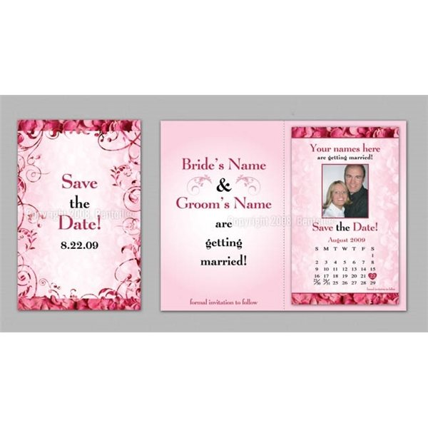 Promotional Save the Date - Pink Rose Petals - Executive Greeting Cards with Magnets