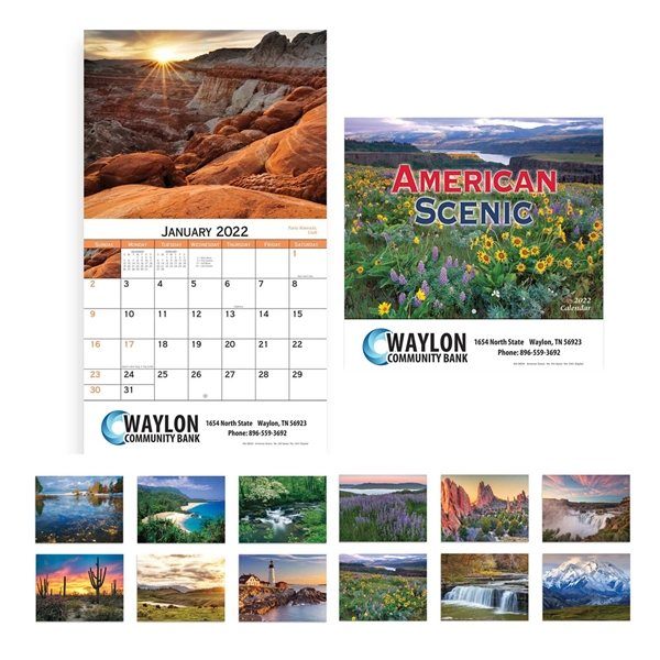 Promotional American Scenic Wall Calendar - Stapled