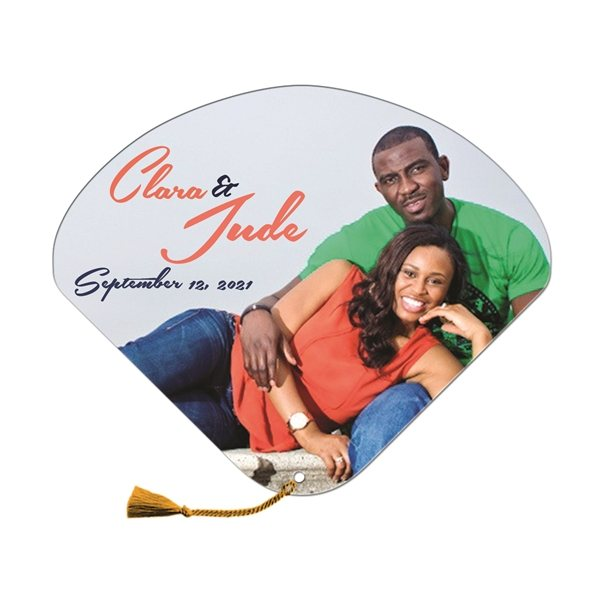 Promotional Seashell Wedding Hand Fan Tassel Included - Paper Products