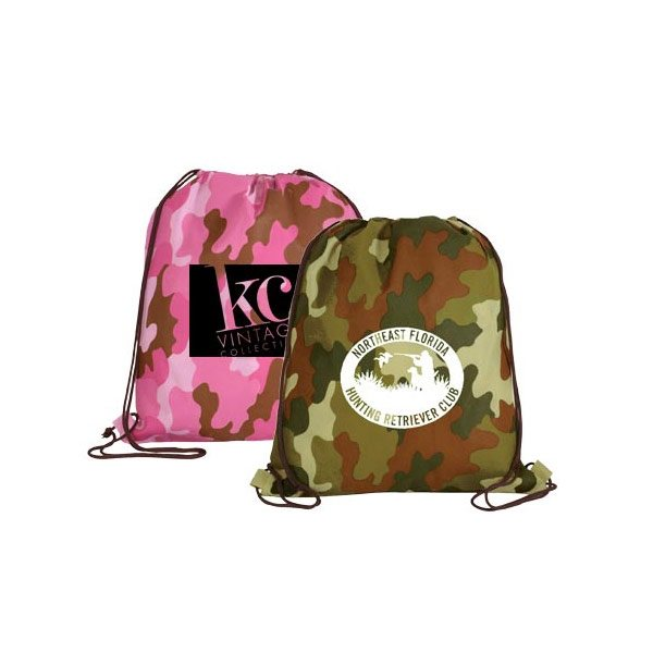 0894c63dbd Non-Woven Camo Drawstring Backpack - Advertising Specialties ...