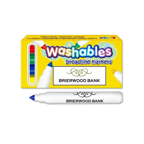 Promotional 4 Pack Box of Washable Markers - USA Made