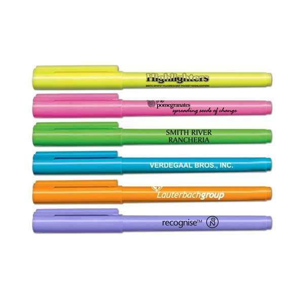 Promotional Brite - Spots(R) Fluorescent Pocket Highlighters - USA Made