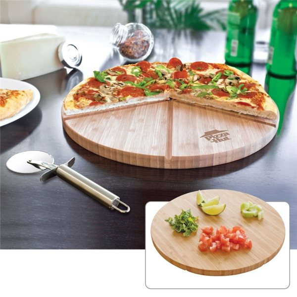 Promotional Gourmet Bamboo Pizza Set / Cutting Board