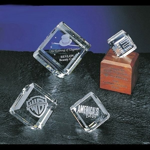 Promotional Clearaward Optical Crystal Cube Award - 3x4x2 in