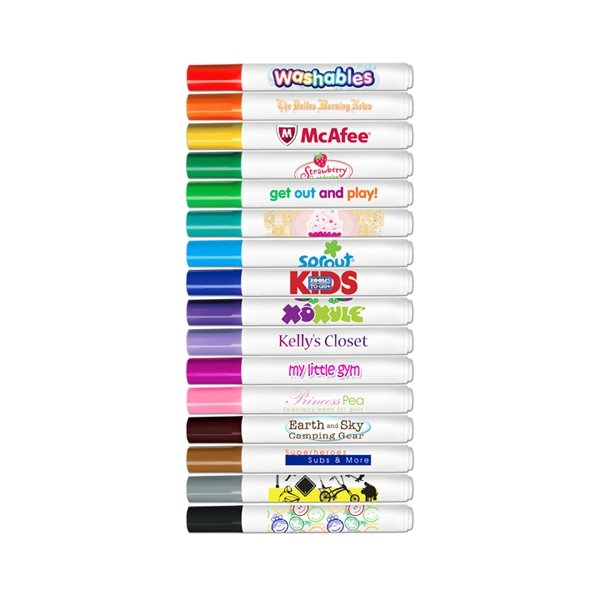 Promotional Broadline Washable Markers - Conical Tip - Full Color Decal Print - USA Made