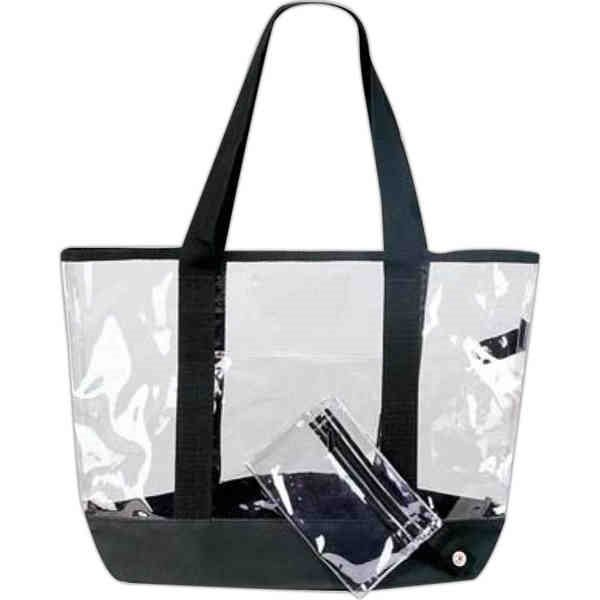 Promotional Clear tote bag with front pocket and detachable coin purse.