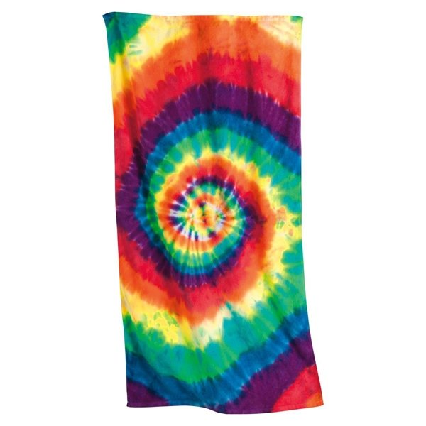Promotional Tie - Dyed Rainbow Spiral Beach Towel