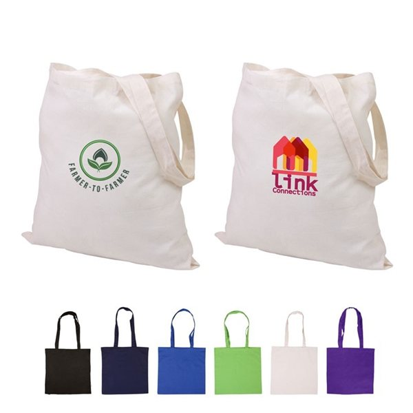 Cotton Canvas Multi Color Custom Basic Tote Bag - 15x15