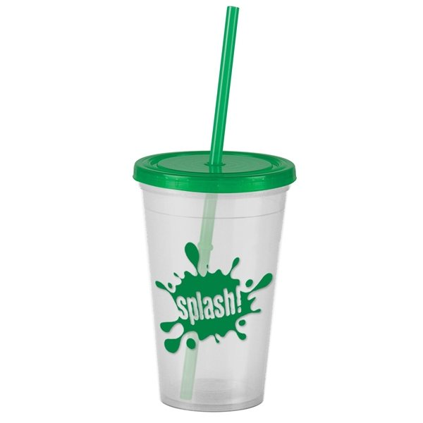 16 Oz Insulated Straw Double Walled Tumbler Customized