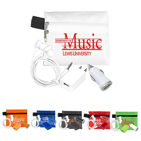 Promotional Mobile Tech Auto and Home Charging Kit with Earbuds in Polyester Zipper Pouch