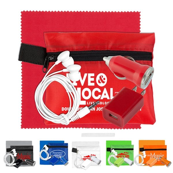 Promotional Mobile Tech Auto and Home Charging Kit with Earbuds and Microfiber Cleaning Cloth in Polyester Zipper Pouch