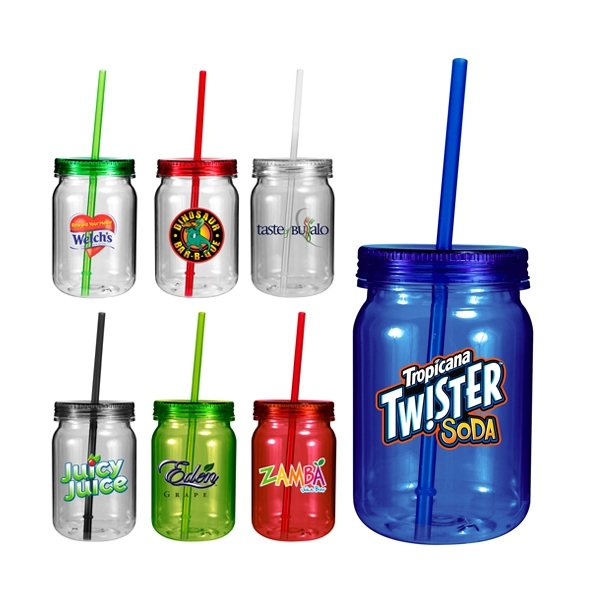 Promotional 24 oz Plastic Mason Jar, Full Color Digital