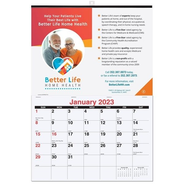 Promotional Monthly Wall Calendars - One Custom Photo