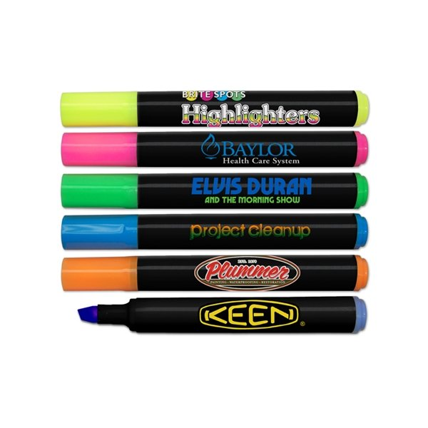 Promotional Brite Spots(R) Black Barrel Jumbo Fluorescent Highlighters - Full Color Decal Print