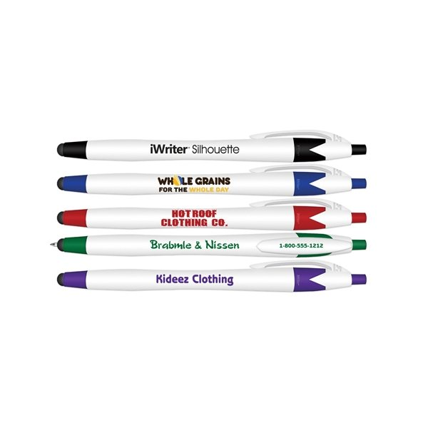 Promotional iWriter(R) Silhouette Stylus Retractable Ball Point Pen - Blue Ink