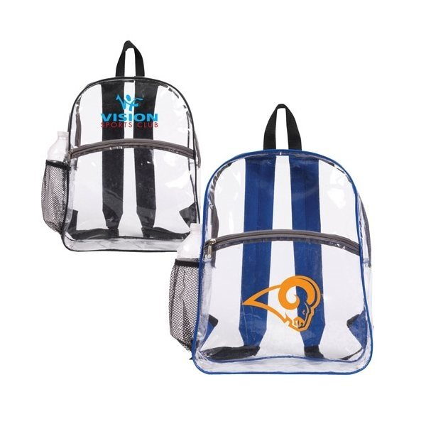 Promotional clear backpack with colored trim