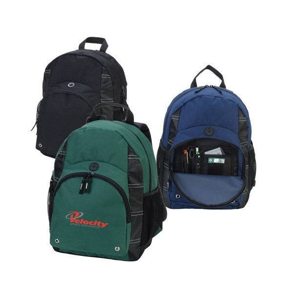Promotional Polyester Backpack with Zippered Main Compartment