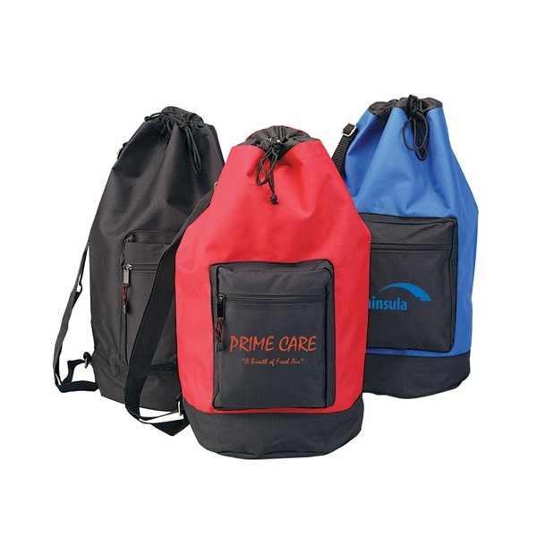 Promotional 600D Polyester Drawstring Roll Bag 11 W x 22 H
