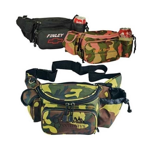 Promotional 600D Polyester / Mesh Deluxe Fanny Pack 15-1/2 x 6 x 5-1/2
