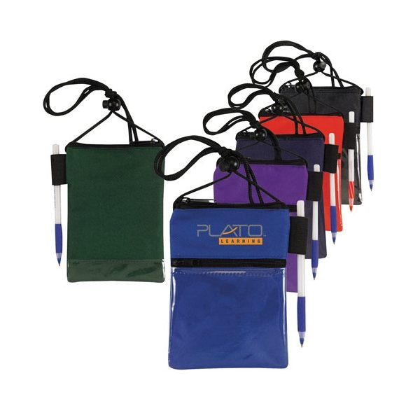 Promotional Dual Compartment Neck Wallet / Badge Holder