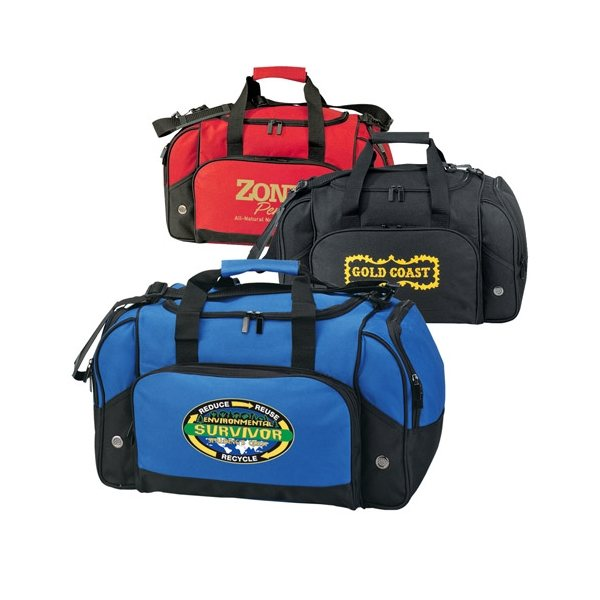 Promotional 600D Polyester Gym Bag with Zippered Compartments