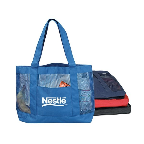 Promotional Blue Polyester / Nylon Mesh Tote Bag