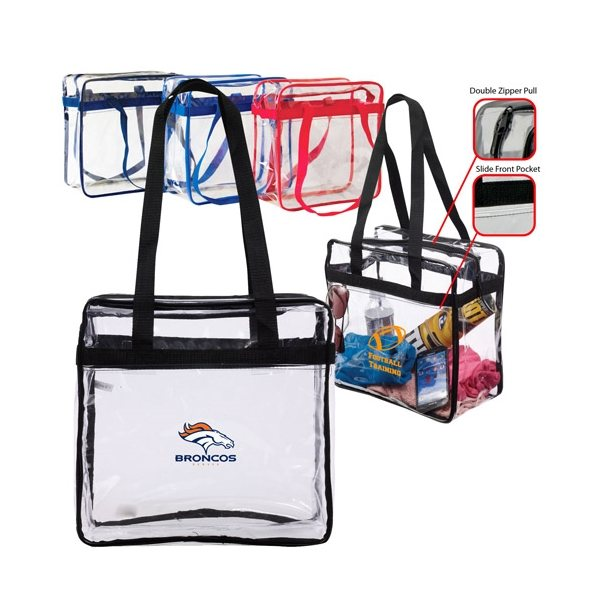 Promotional Transparent Stadium Zippered Tote