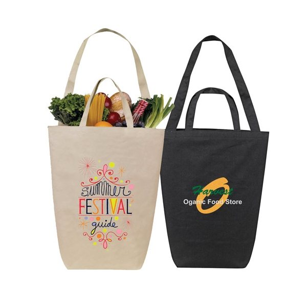 Promotional Solid Color Dual Handle Canvas Shopping Tote