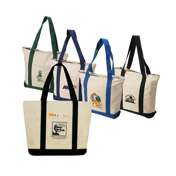 Promotional Two - Tone Zippered Canvas Boat Tote