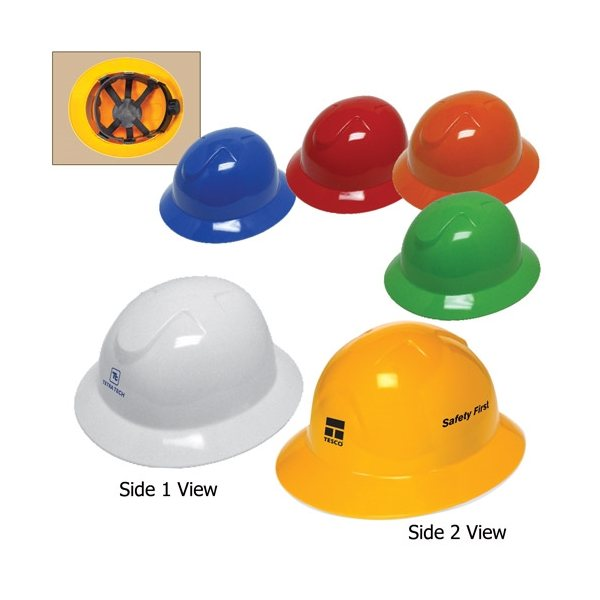 Promotional Full Brim Hard Hat with 6- Point Ratchet Suspension