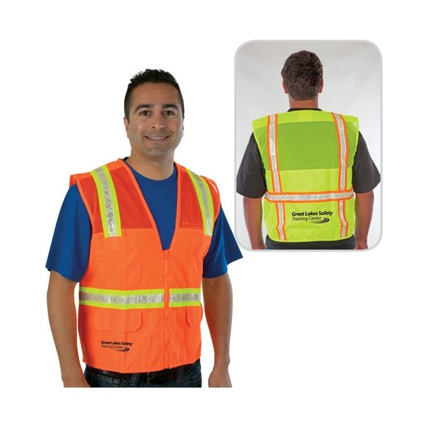 Promotional Traditional Surveyor Safety Vest, Mesh Top Solid Bottom