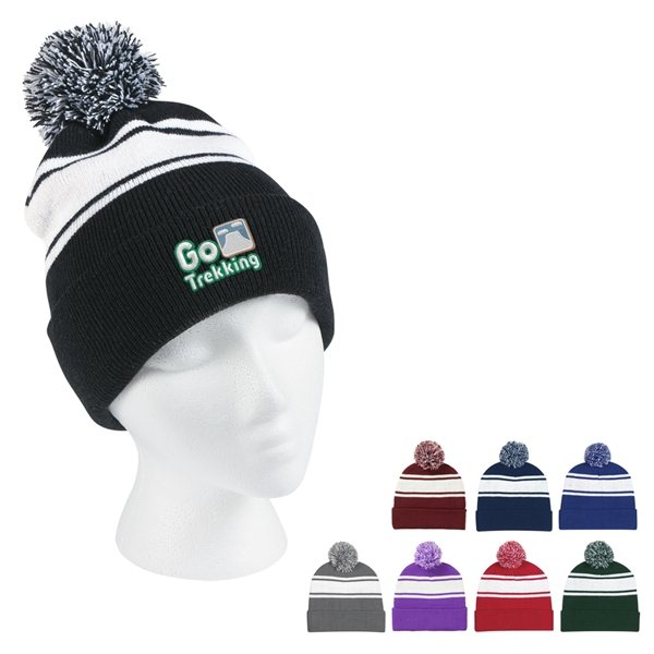 df16ec1e1d5 Two-Tone Knit Pom Beanie With Cuff - Logo Imprinted Hats   Beanies