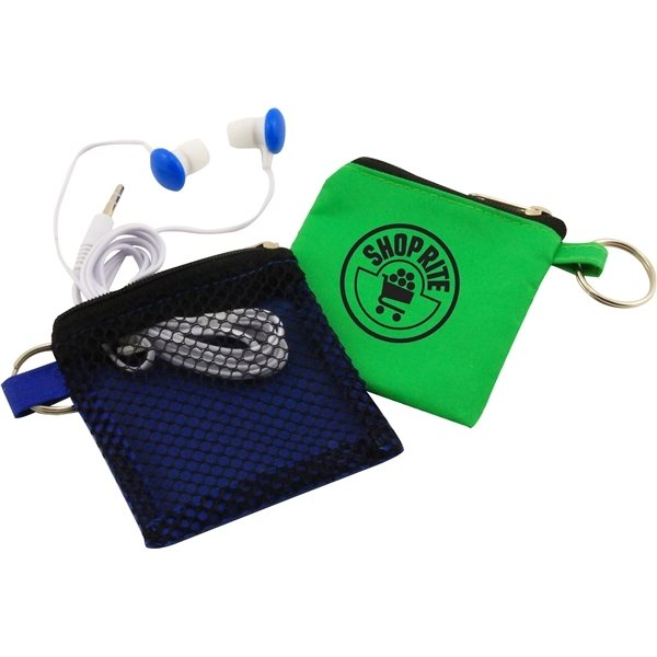 Promotional Keychain Pouch with Earbuds